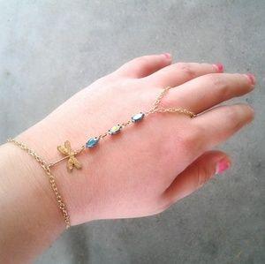 Dragonfly Hand Chain Antique Gems Slave Bracelet